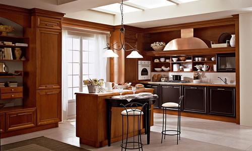 Cucine classiche contemporanee country chic lineari legno
